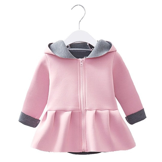 Bunny Ear Style Baby Girls Winter Hooded Jacket - Baby Alex