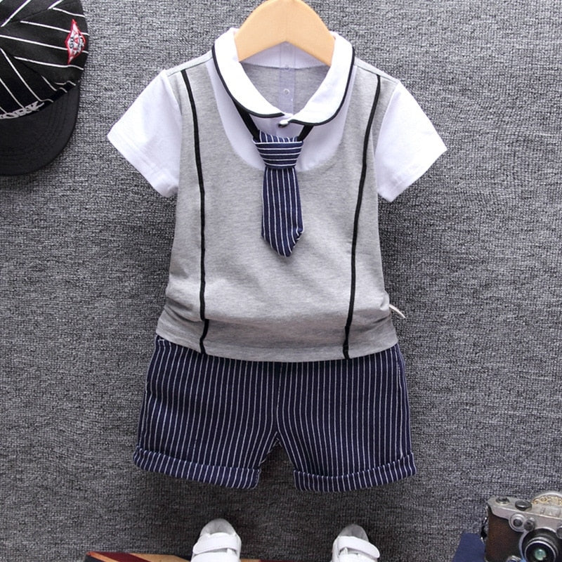 Baby boy Clothing Sets T-shirt with Tie + Short Children's Cloth Sets - Baby Alex, baby clothes, baby shoes, diaper bag, Maternity clothes