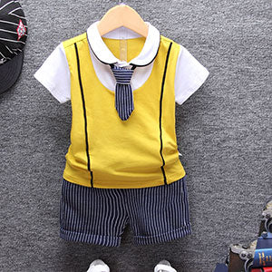 Baby boy Clothing Sets T-shirt with Tie + Short Children's Cloth Sets - Baby Alex