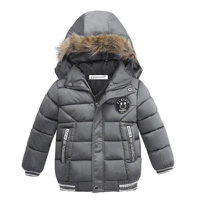 Cool Grey Boys Winter Warm Jacket - Kids Outerwear Hoodie Jacket - Baby Alex, baby clothes, baby shoes, diaper bag, Maternity clothes