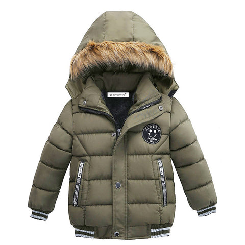 Royal Blue Boys Winter Warm Jacket - Kids Outerwear Hoodie Jacket