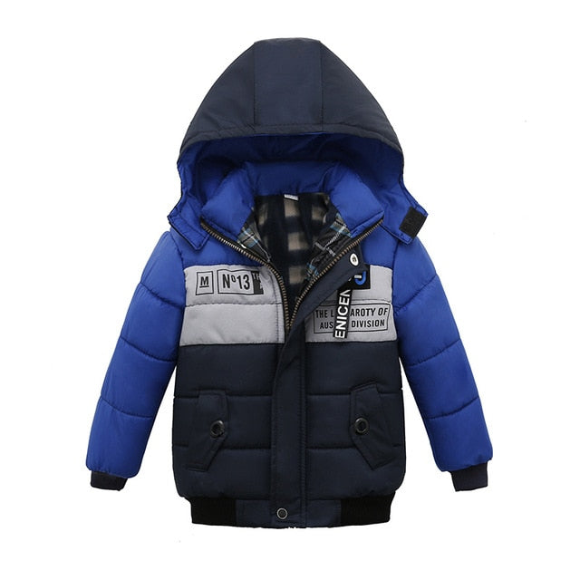 Blue & Black Toddler Baby Winter Warm Hoodies Jacket - Baby Alex, baby clothes, baby shoes, diaper bag, Maternity clothes