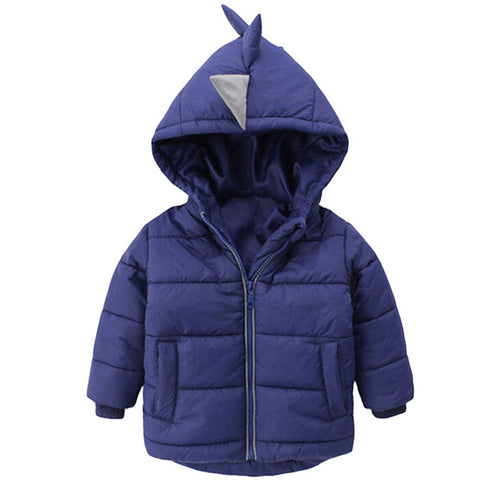 Cute Blue Baby Girls Winter Hooded Jacket