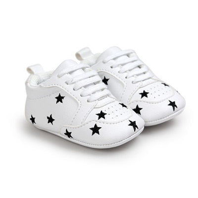 Black Starred White First Walker Soft Sole Newborn 0-1 years Sneakers - Baby Alex, baby clothes, baby shoes, diaper bag, Maternity clothes