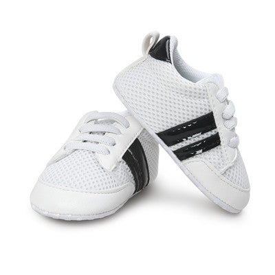 Black Lined White First Walker Soft Sole Newborn 0-1 years Sneakers - Baby Alex, baby clothes, baby shoes, diaper bag, Maternity clothes