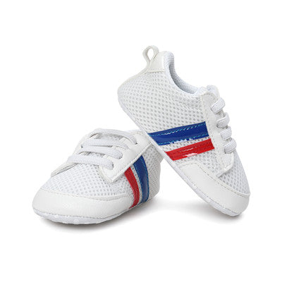 Blue & Red Lined White First Walker Soft Sole Newborn 0-1 years Sneakers - Baby Alex, baby clothes, baby shoes, diaper bag, Maternity clothes