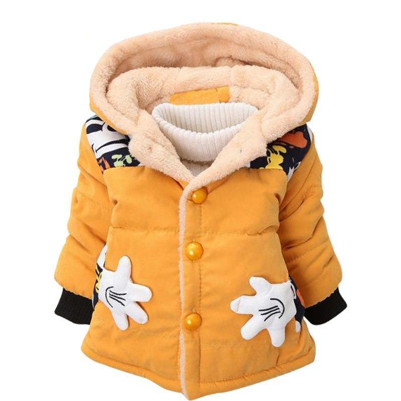 Yellow Girls and Boys Warm Outerwear Hooded Winter Jacket - Baby Alex