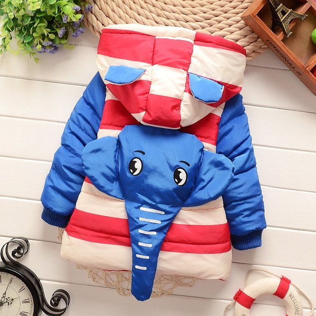 Cute Elephant Girls and Boys Warm Outerwear Hooded Winter Jacket - Baby Alex