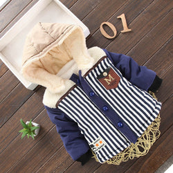 Navy Blue Striped Girls and Boys Warm Outerwear Hooded Winter Jacket = BabyAlex, Afterpay Available, Toddler Clothes, Diaper Bag, Designer Diaper Bag, Diaper Bag Backpack, Baby Shop Australia, Alex Collections, Baby Clothe Australia