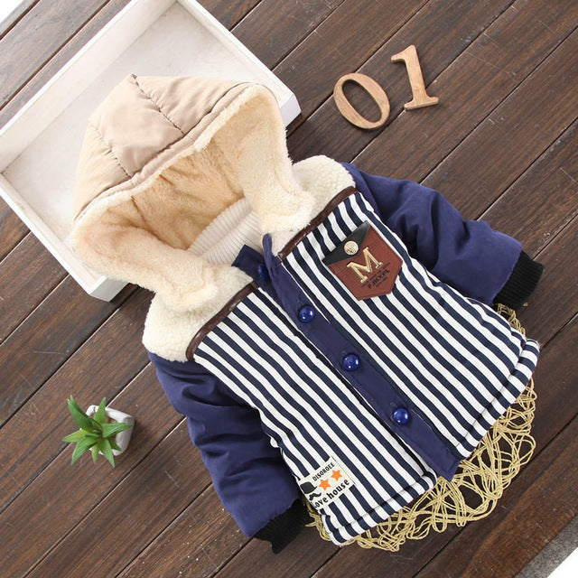 Navy Blue Striped Girls and Boys Warm Outerwear Hooded Winter Jacket - Baby Alex, baby clothes, baby shoes, diaper bag, Maternity clothes