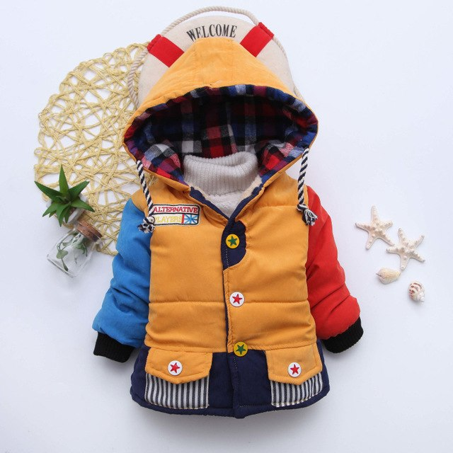 Multi Yellow Girls and Boys Warm Outerwear Hooded Winter Jacket - Baby Alex