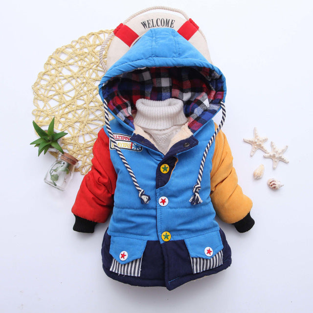 Multi Blue Girls and Boys Warm Outerwear Hooded Winter Jacket - Baby Alex