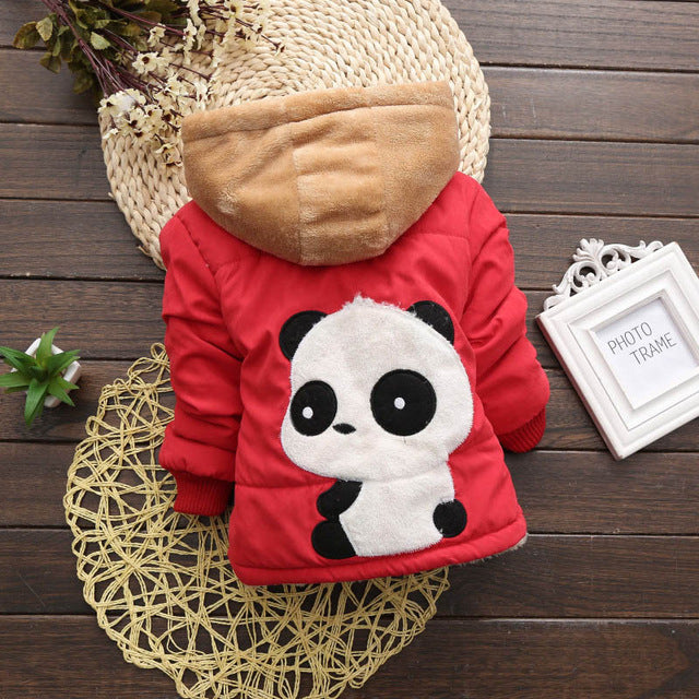 Panda Red Girls and Boys Warm Outerwear Hooded Winter Jacket - Baby Alex