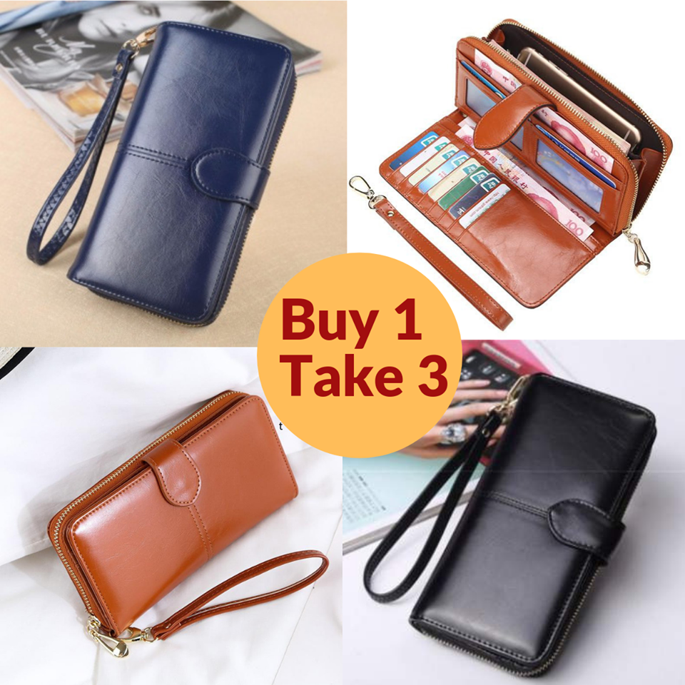 Leather Long Wallet  (Buy 1 Get 3)