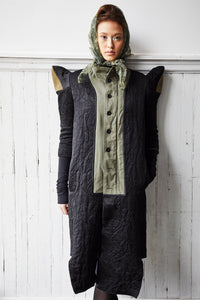 black satin spire sleeve and army coat