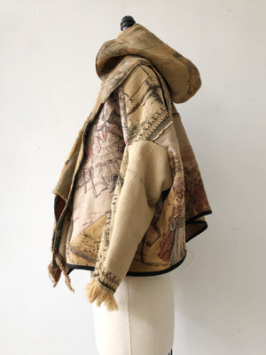 cropped tapestry cocoon with hood