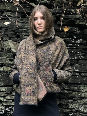 floral tapestry with hood