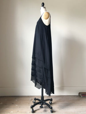cotton and silk chiffon pin tuck slip dress