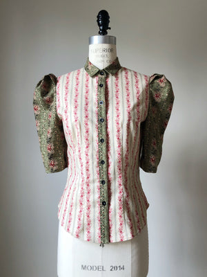 Lillian work shirt in 19th century reproduction prints