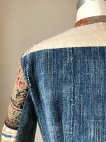 patched butterfly embroidery and African indigo cloth shirt jacket