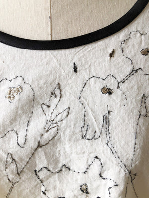 stolen magnolias hand embroidered cocoon top