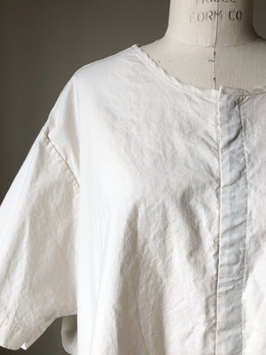 cotton and ticking patched big shirt