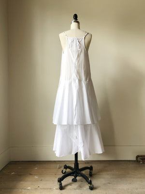 double tier cotton slip dress with ties