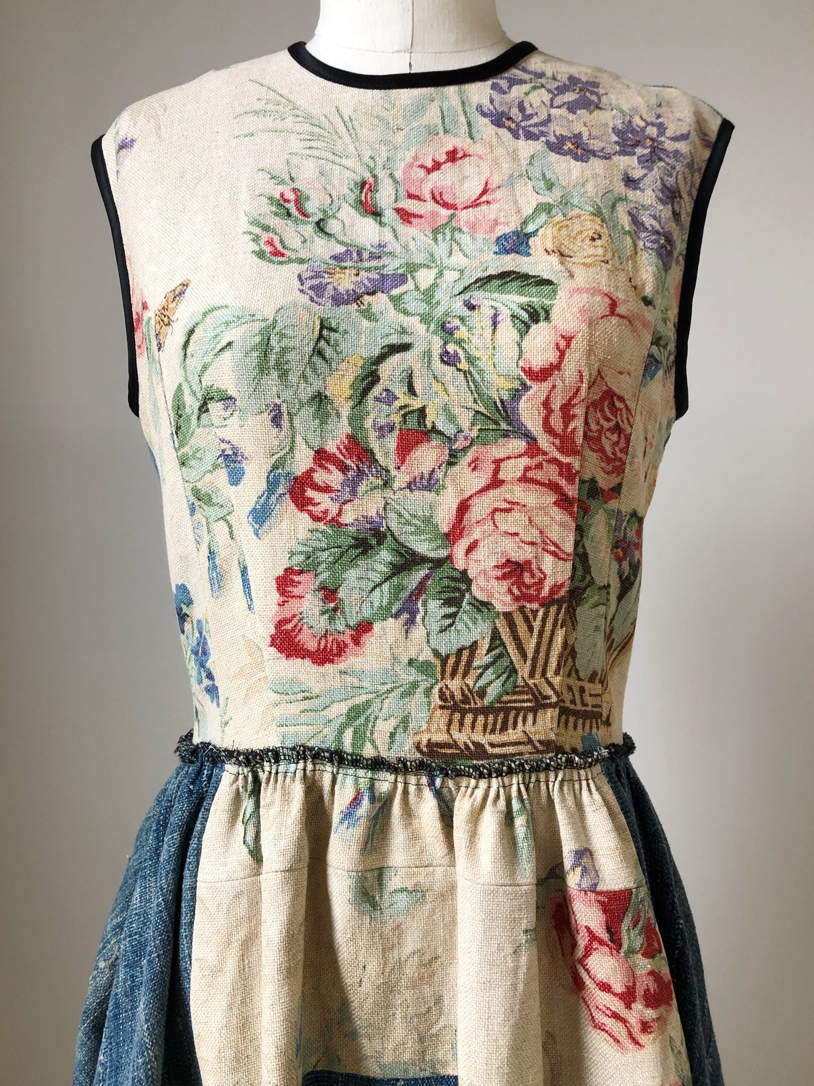 faded patched floral with indigo