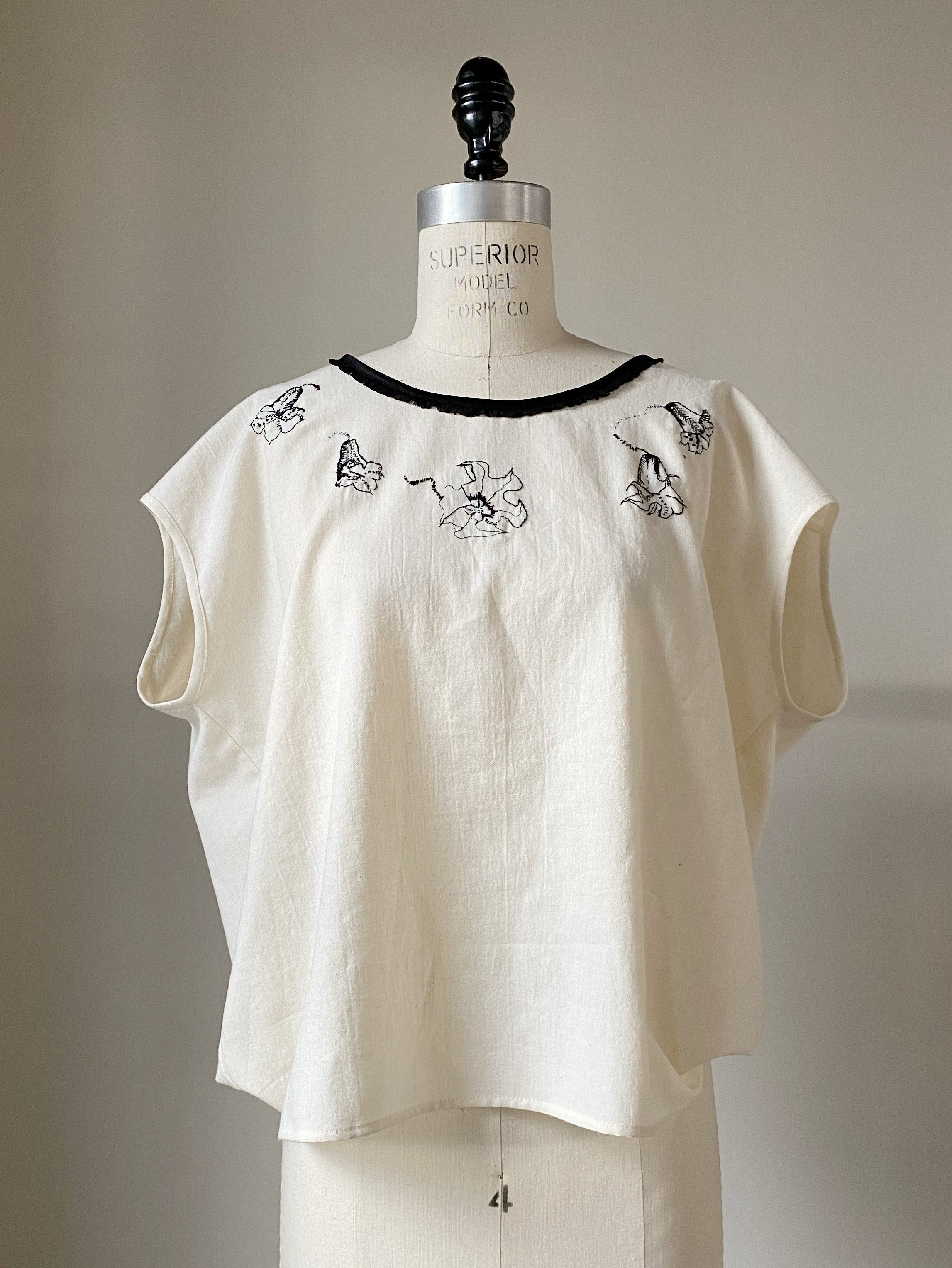 datura hand embroidered sophronia top