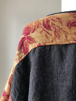 19th century scarlet and rust floral jacquard big shirt