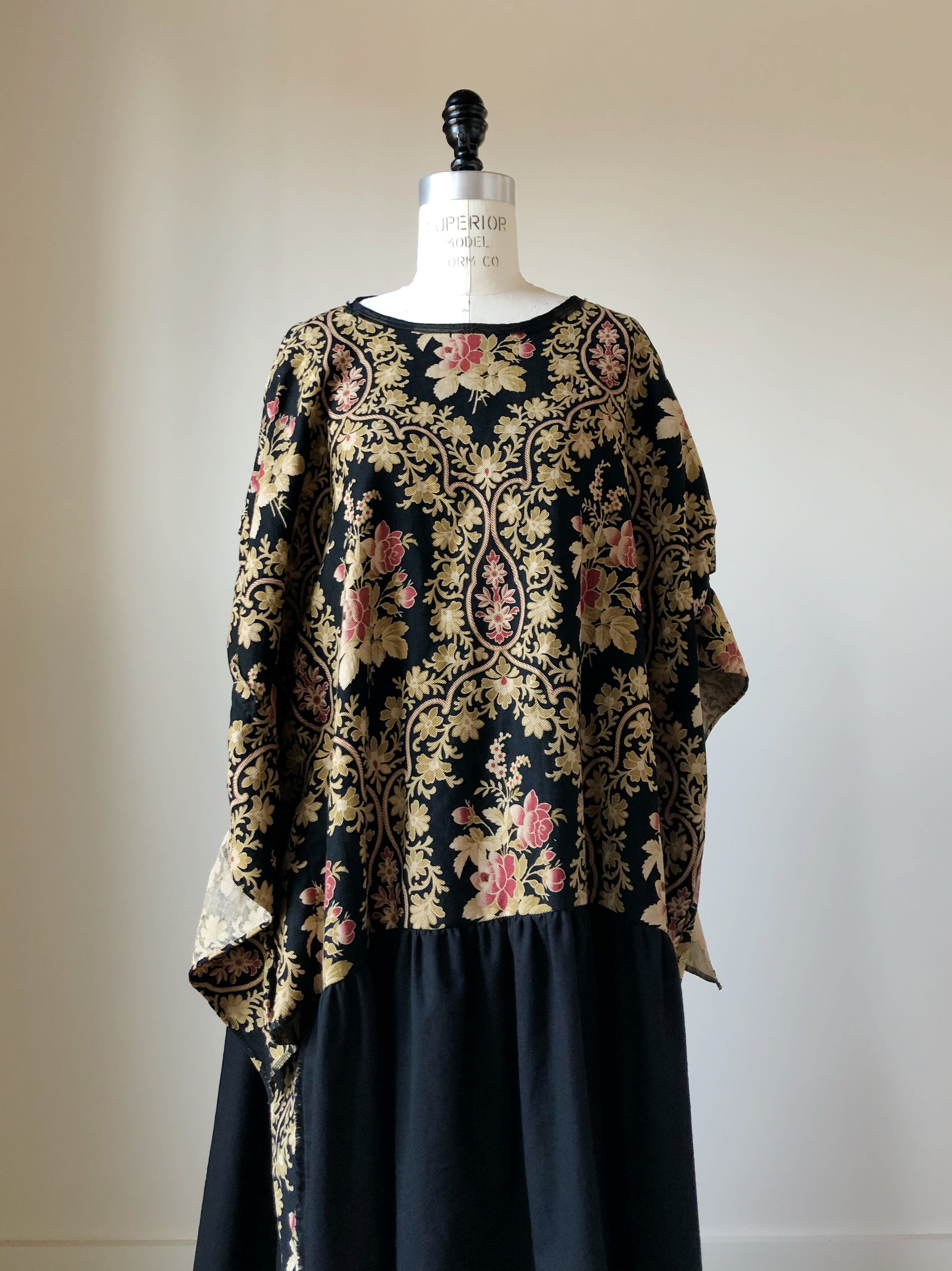 19th century french floral twill and black flannel ruffle dress