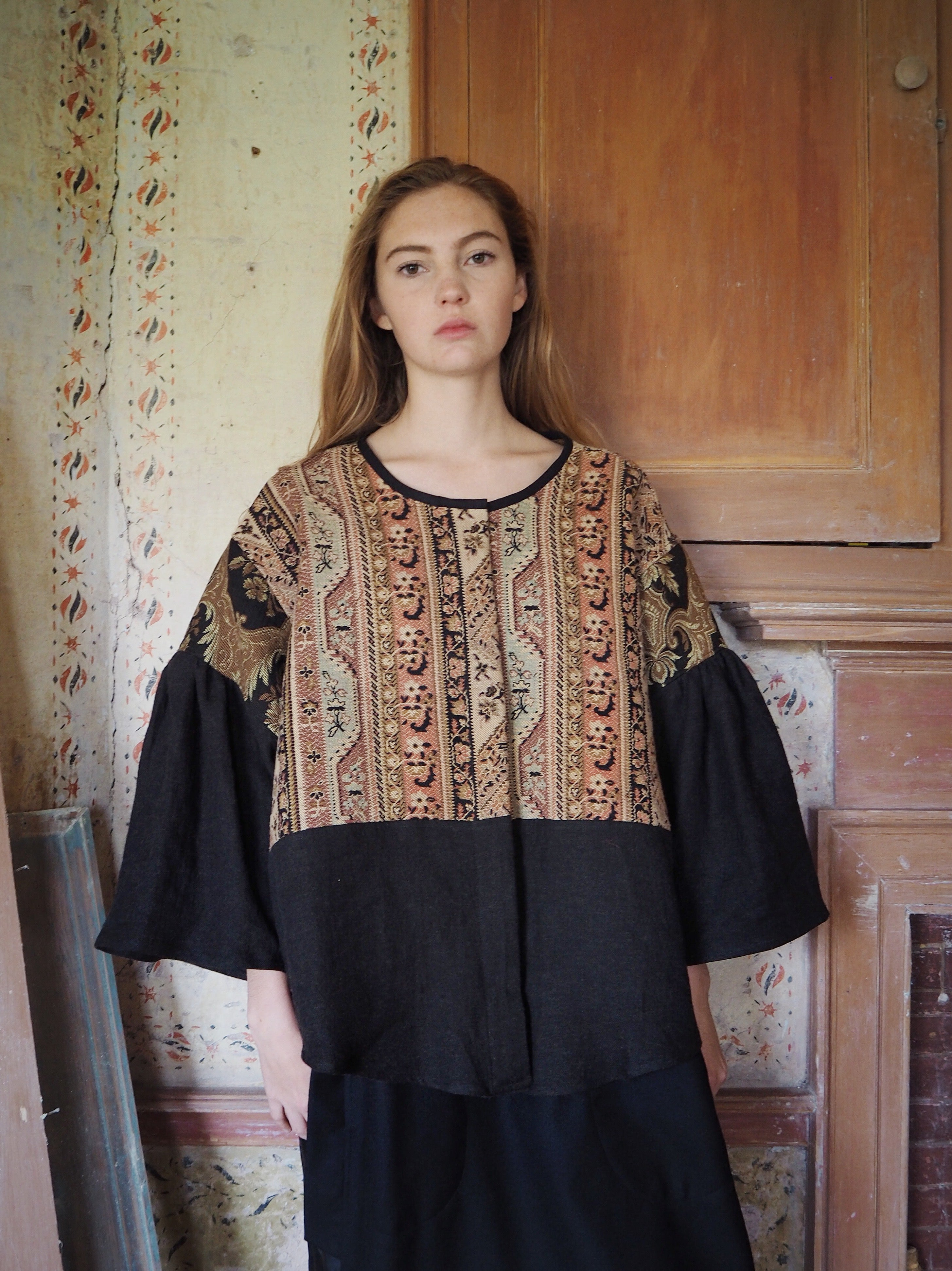 19th century patched french jacquard big shirt