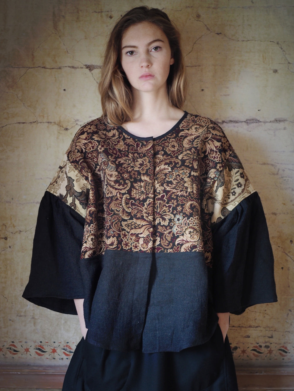 19th century french jacquard patched big shirt