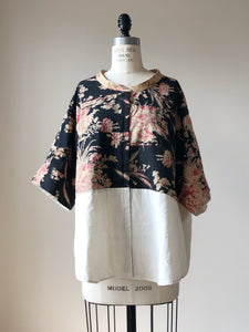 19th century floral patched big shirt
