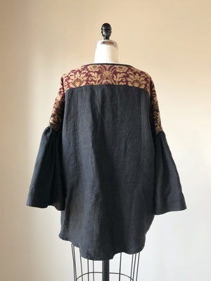 19th century french ]atched jacquard big shirt