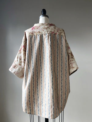 19th century antique floral patched big shirt