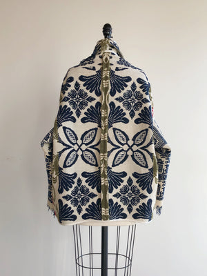 red, blue and olive graphic antique coverlet cocoon coat