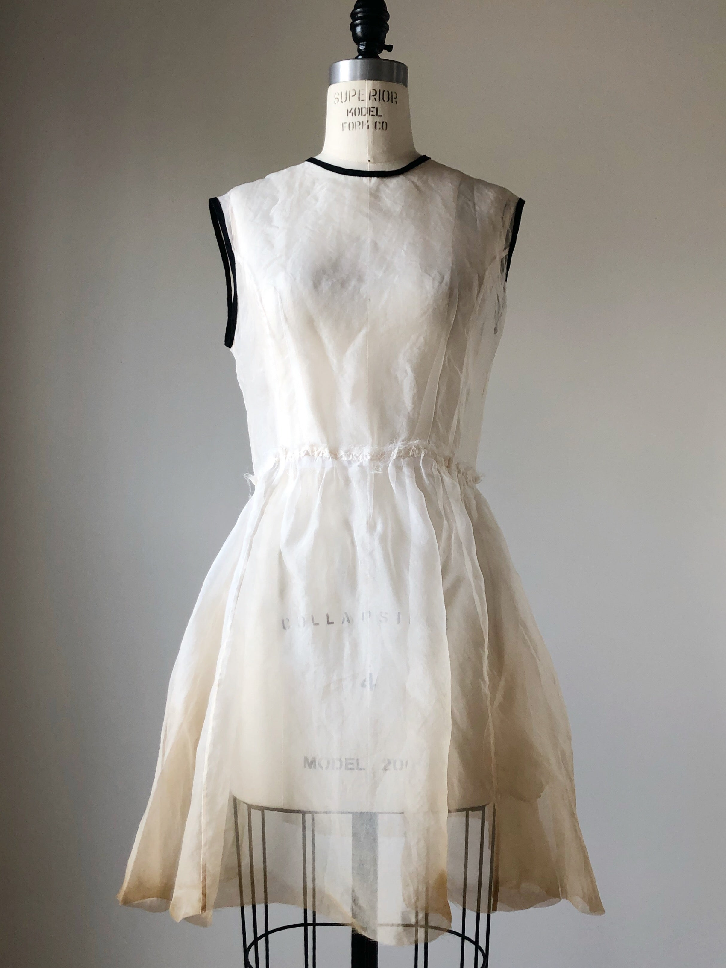 organza chopped dress overlay with tea stain
