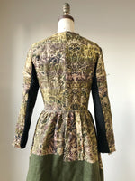 antique jacquard and army blanket coat dress