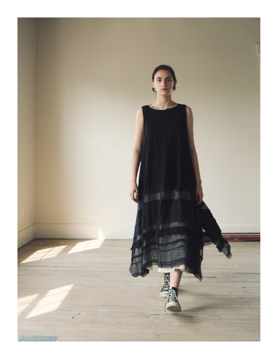 black jersey and silk chiffon crinoline dress