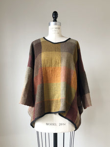 thistle hill wool and cotton herringbone kimono top