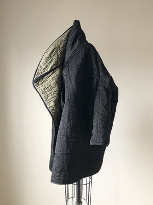 quilted black double face silk satin and cashmere cocoon