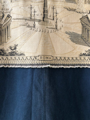 Rome tapestry and archival denim cocoon