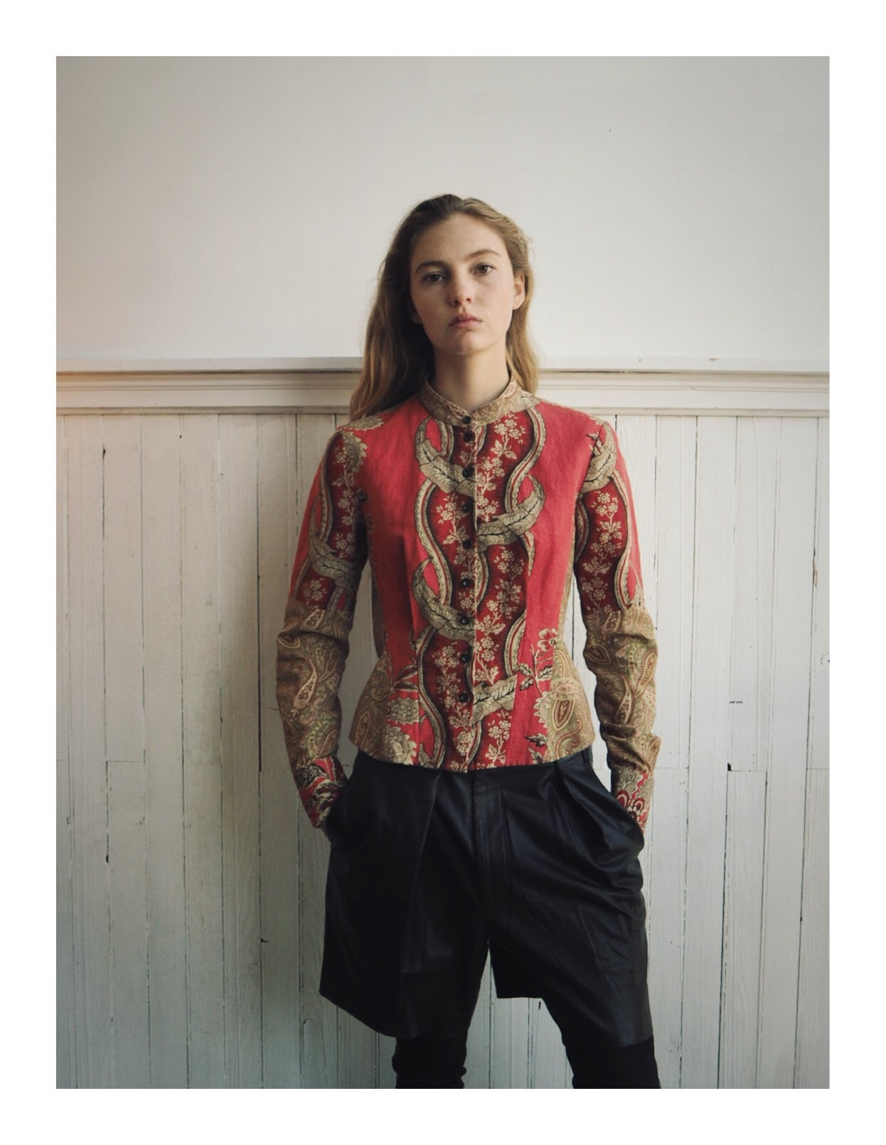 paisley and vine patched shirt