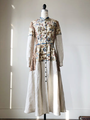 19th century indienne floral and striped linen patched shirt dress size 4