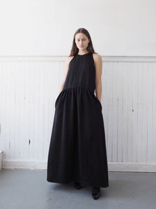 black washed duchess silk tank dress