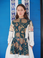 19th century faded turquoise indienne patched shirt dress size 6