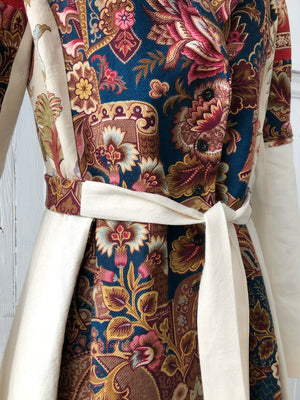19th century printed twills and canvas patched coat