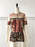 19th century patched French cotton floral and cotton shirt dress size 8