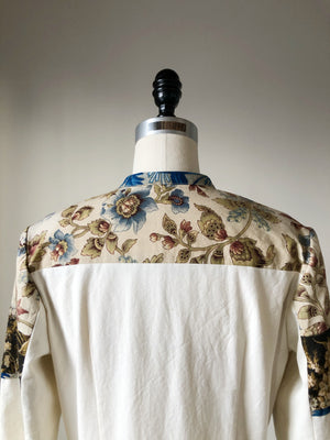 19th century indienne and floral patched shirt dress size 6